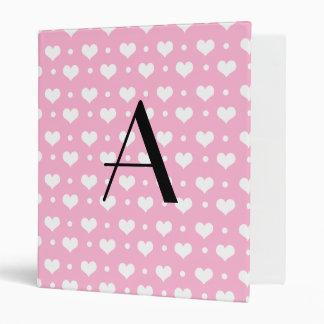 Monogram light pink hearts polka dots binder