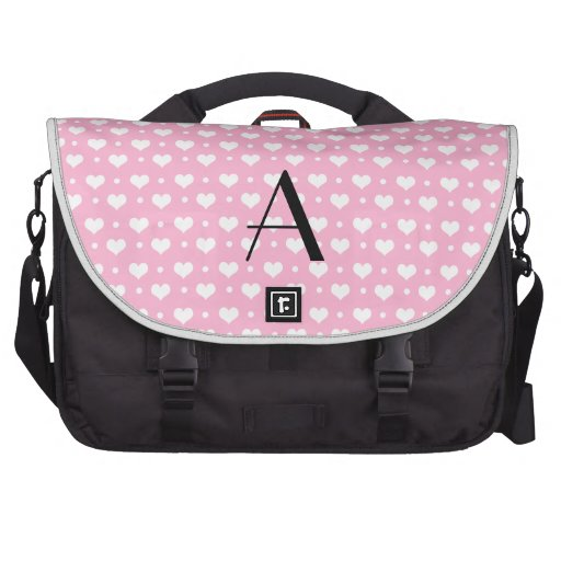Monogram light pink hearts polka dots laptop bag