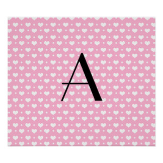 Monogram light pink hearts polka dots poster