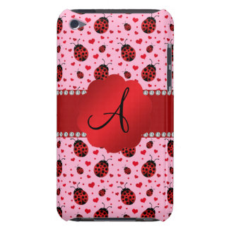 Monogram light pink ladybugs hearts barely there iPod case