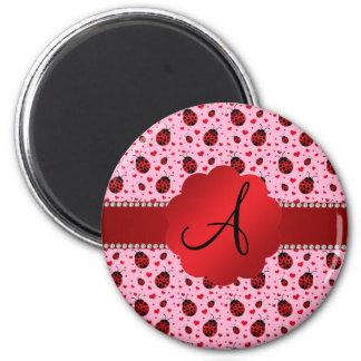 Monogram light pink ladybugs hearts refrigerator magnet