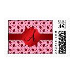 Monogram light pink ladybugs hearts postage stamp