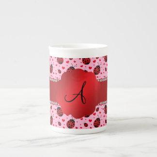 Monogram light pink ladybugs hearts porcelain mugs