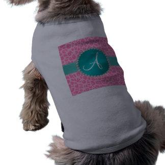 Monogram light pink leopard print turquoise circle dog t-shirt