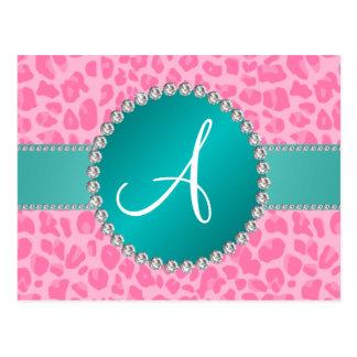 Monogram light pink leopard print turquoise circle postcards