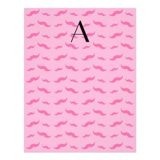 "Monogram light pink mustache pattern 8.5"" x 11"" flyer"