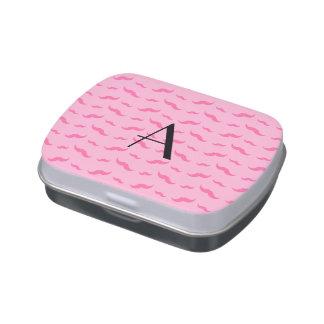 Monogram light pink mustache pattern jelly belly tin