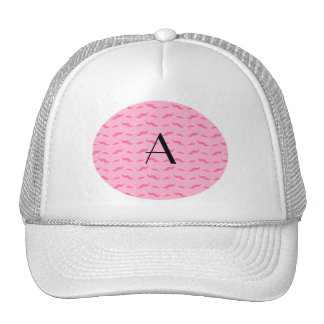Monogram light pink mustache pattern trucker hat