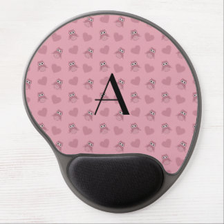 Monogram light pink owls and hearts gel mouse mats