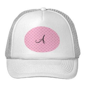 Monogram light pink pearl polka dots trucker hat