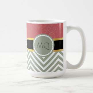 Monogram Light Sage Chevrons & double infinity #2 Coffee Mug