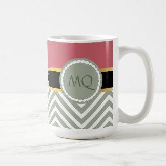 Monogram Light Sage Chevrons & double infinity Mug