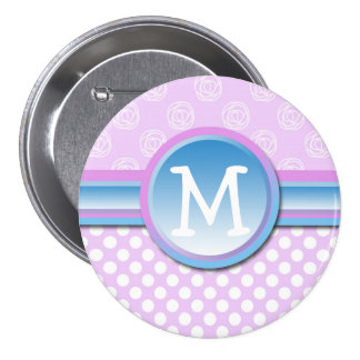 Monogram Lilac Polka Dot Button