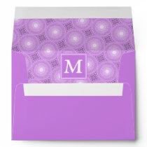 Monogram lilac purple circles pattern envelope