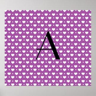 Monogram lilac purple hearts polka dots poster