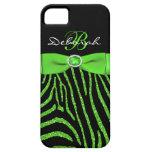 Monogram Lime, Black Glitter Zebra iPhone 5 Case