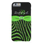 Monogram Lime, Black Glitter Zebra iPhone 6 case