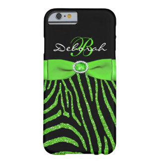 Monogram Lime, Black Glitter Zebra iPhone 6 case
