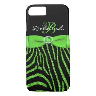 Monogram Lime, Black Glitter Zebra iPhone 7 Case