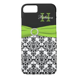 Monogram Lime Black White Damask iPhone 7 Case