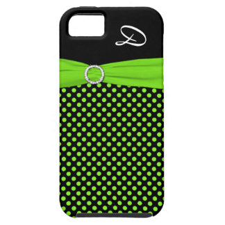 Monogram Lime Black White Polka Dot iPhone 5 Case iPhone 5 Covers