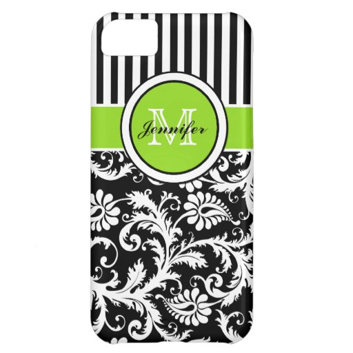 Monogram Lime Black White Striped Damask iPhone 5 iPhone 5C Covers