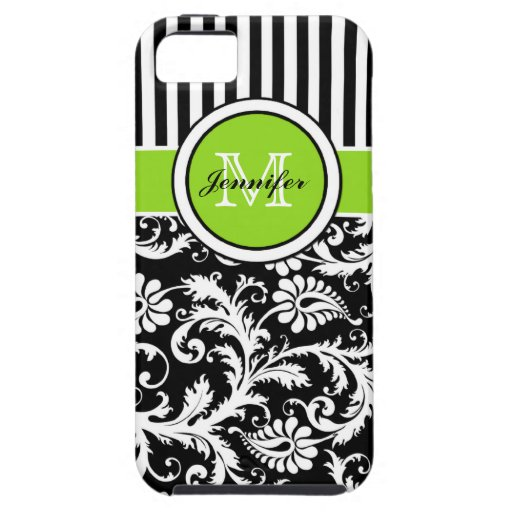 Monogram Lime Black White Striped Damask iPhone 5 iPhone 5 Covers