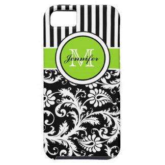 Monogram Lime Black White Striped Damask iPhone 5 iPhone SE/5/5s Case