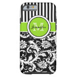 Monogram Lime Black White Striped Damask iPhone 6  Tough iPhone 6 Case