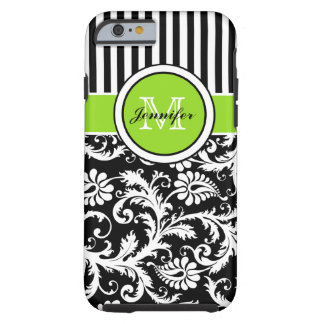 Monogram Lime Black White Striped Damask iPhone 6  Tough iPhone 6 Case
