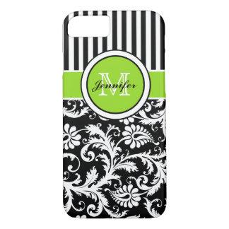 Monogram Lime Black White Striped Damask iPhone 7 iPhone 8/7 Case