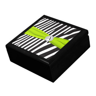 Monogram Lime, Black, White Zebra Skin Trinket Box