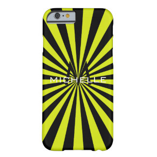 Monogram Lime Funky Sun Rays Retro Stripes Barely There iPhone 6 Case