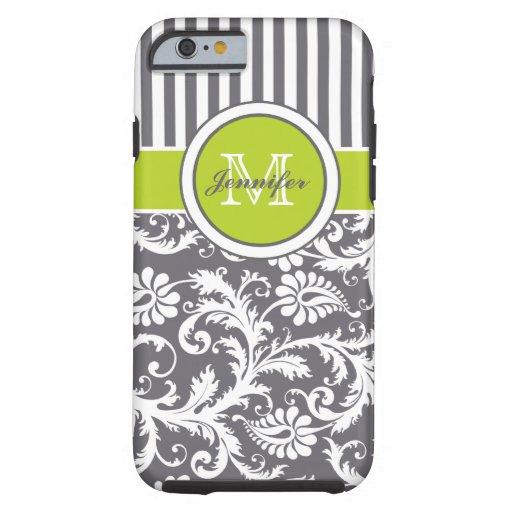 Monogram Lime Gray White Striped Damask iPhone 6 Case