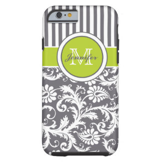 Monogram Lime Gray White Striped Damask Tough iPhone 6 Case