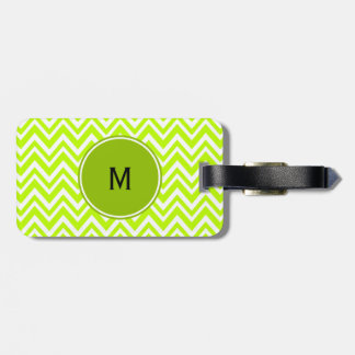 Monogram Lime Green and White Zigzag Pattern Bag Tag
