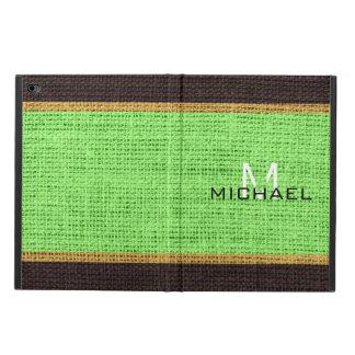Monogram Lime Green Burlap Linen Rustic Jute Powis iPad Air 2 Case
