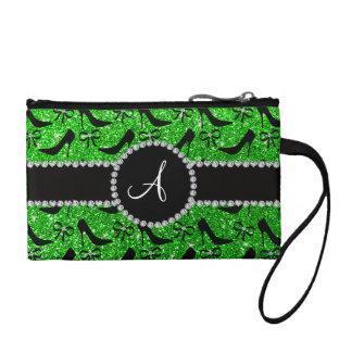 Monogram lime green glitter black high heels bow coin purse