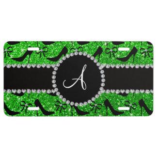 Monogram lime green glitter black high heels bow license plate