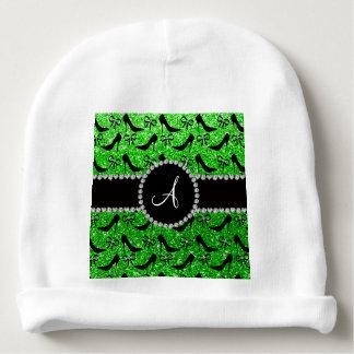 Monogram lime green glitter black high heels bow baby beanie