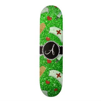 Monogram lime green glitter nurse hats heart skate board deck