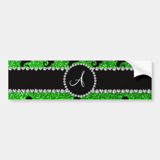 Monogram lime green glitter seahorses car bumper sticker