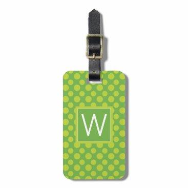 monogram_bouquet Monogram   Lime Green Polka Dots Luggage Tag