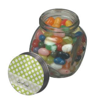 Monogram Lime Green White Trendy Polka Dot Pattern Glass Candy Jar