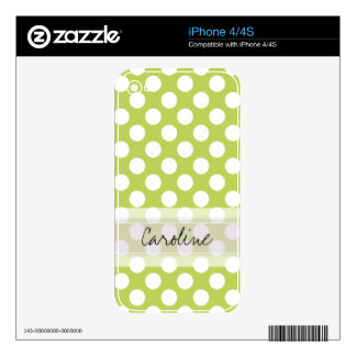 Monogram Lime Green White Trendy Polka Dot Pattern iPhone 4S Decal