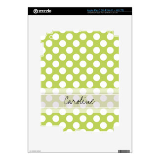Monogram Lime Green White Trendy Polka Dot Pattern Skin For iPad 3