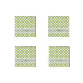 Monogram Lime Green White Trendy Polka Dot Pattern Stone Magnet