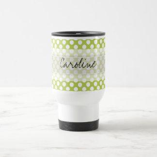 Monogram Lime Green White Trendy Polka Dot Pattern Travel Mug
