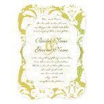 "Monogram Lime Light Gold Damask Wedding Invitation 5"" X 7"" Invitation Card"