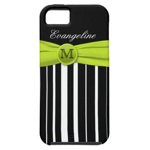 Monogram Lime White Black Striped iPhone 5 Case